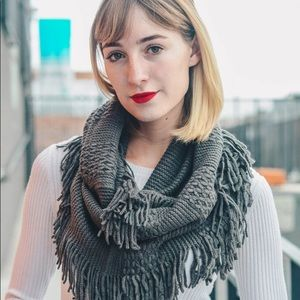 ⭐️2/$38 New Pointelle Knit Infinity Scarf in Gray